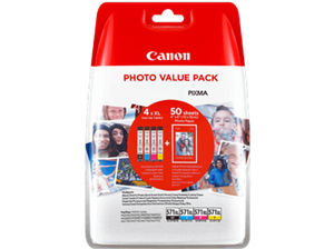 N/A 4 pak cli-571bk/c/m/y med 50ark fotopapir - canon - 4 x 11ml fra printerpatroner.dk