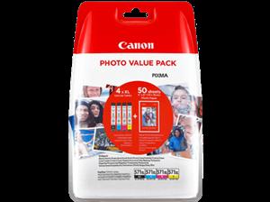 Image of   4-Pak CLI-571B/C/M/Y patroner - Canon med 50ark fotopapir - Canon - 4 x 11ml