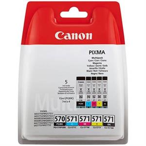 Image of   5-Pak B/C/M/Y patroner - Canon 570/570CMYK - 1x15/4x7ml.