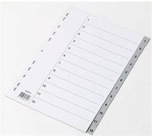 Image of   A4 Register grå plast 1-12