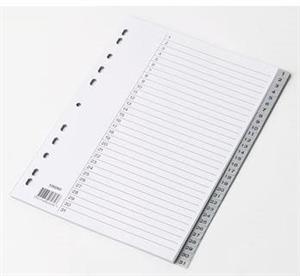 A4 Register grå plast 1-31