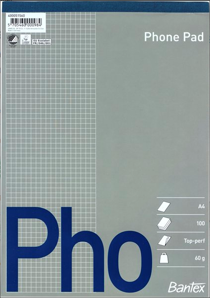 Image of   1 x Phone Pad Blokke A4 a´100 sider - 60gr. (Top limet)