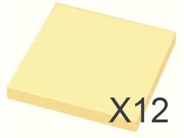 "Image of 12 x Gul ""post-it"" 75 x 75 mm"