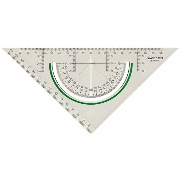 Geometritrekant plast LINEX m/vinkelmåler 2622