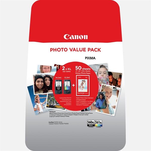 Image of   2-Pak sort og farvet patron - Canon 560XL+561XL + Papir