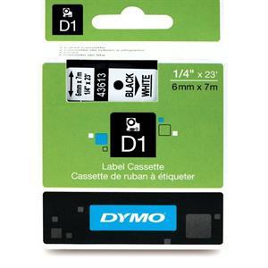 Sort på hvid 6 mm d1-tape (43613) fra N/A fra printerpatroner.dk