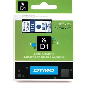 Blå på transparent 12 mm d1-tape (45011) fra N/A på printerpatroner.dk