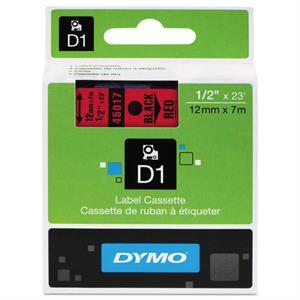 N/A – Sort på rød 12 mm d1-tape (45017) på printerpatroner.dk
