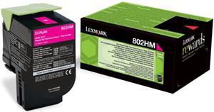 Image of   Magenta lasertoner - Lexmark 802HM0 - 3.000 sider