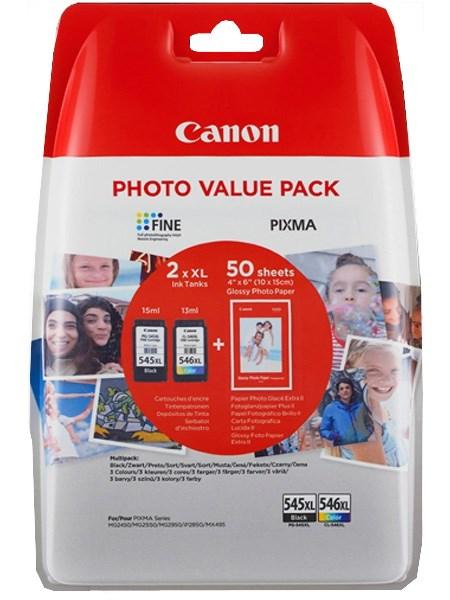 Image of   2-Pak sort og farvet patron - Canon 545XL/546XL + 50xPapir 10x15 -