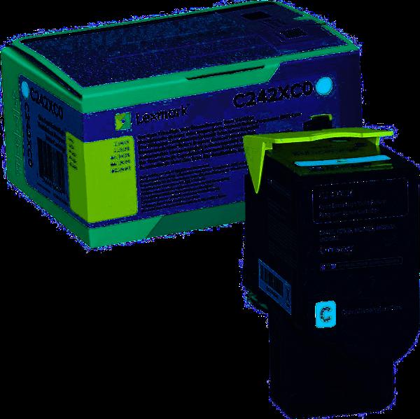 Image of   Cyan lasertoner - Lexmark C242XC0 - 3.500 sider