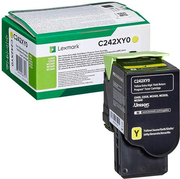 Image of   Gul lasertoner - Lexmark C242XY0 - 3.500 sider
