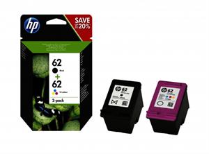 Image of   2-Pak sort og farvet patron - HP nr.62 - 3+3 ml