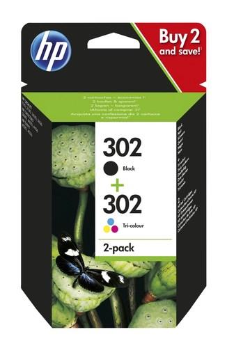 Image of   2-Pak sort og farvet patron - HP nr.302 - 3,5+4 ml
