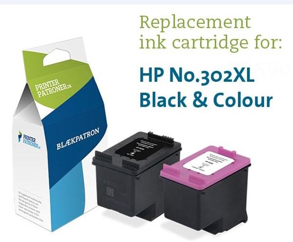 Image of 2-Pak sort og farvet patron - HP nr.302XL - 21+16ml