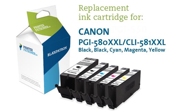 Image of   5-Pak B/FB/C/M/Y patroner 580XXL/581XXL - Canon - 1x25ml+4x10,5ml