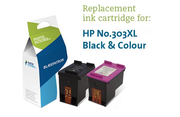Image of 2-Pak sort og farvet patron - HP nr.303XL - 20+18ml