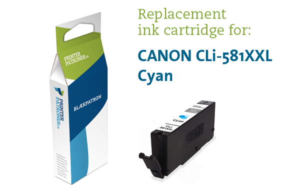 Image of   Cyan blækpatron 581XXLC - Canon Kompatibel - 10,5 ml
