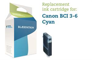 Cyan blækpatron - canon bci-3/6c - 16ml. fra N/A på printerpatroner.dk