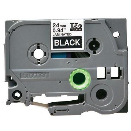 Brother tape 24 mm. hvid tekst / sort tape (laminerede) 8 m. pr. rl.