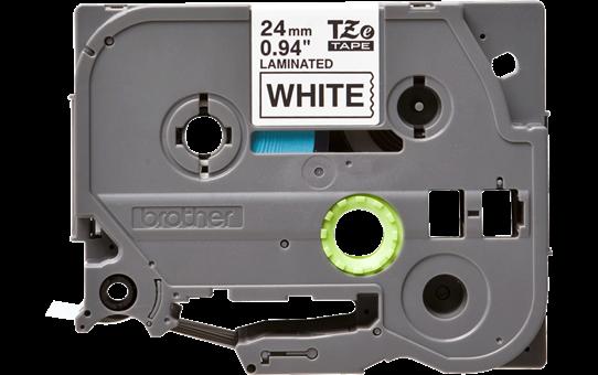 Brother tape 24 mm. sort tekst / hvid tape (laminerede) 8 m. pr. rl.
