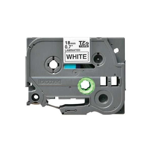 Brother tape 18 mm. sort tekst / hvid tape (laminerede) 8 m. pr. rl.
