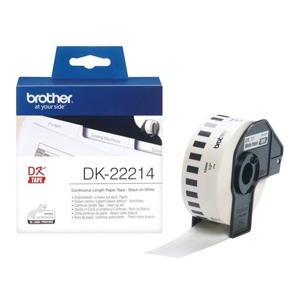 Dk22214 brother 12mm papirtape - hvid (30,48m)