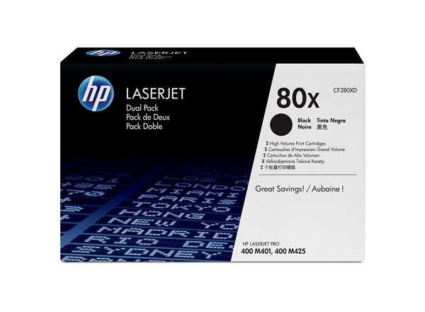 Image of   2-Pack Sort lasertoner - HP nr.80X - 13.800 sider