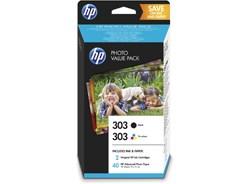 Image of 2-Pak sort og farvet patron - HP nr.303 + 10xPapir 10x15 - 200+165 sider