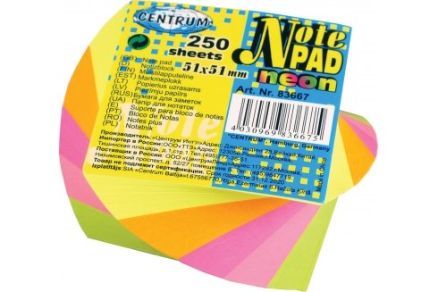 Image of   Note pad 5 farver 51x51mm 250 ark