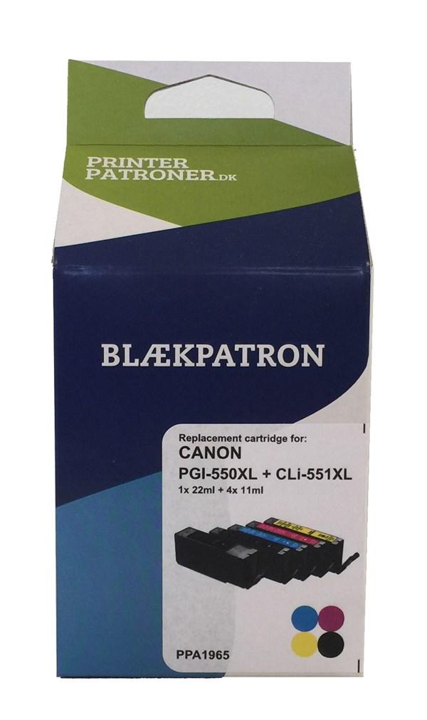 Image of   5-Pak B/C/M/Y patroner - Canon 550XL/551XLCMYK - 1x22/4x11ml