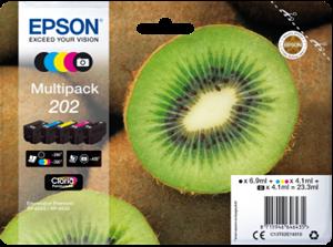 Image of   5-Pak B/PB/C/M/Y patroner - Epson 202 - 1x6,9+4x4,1 ml