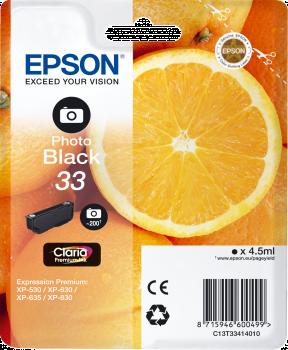 Foto Sort blækpatron - Epson 33 - 4,5ml