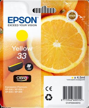 Gul blækpatron - Epson 33 - 4,5ml