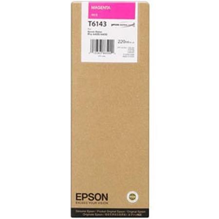 Magenta Blækpatron - Epson T6143 - 220Ml - * Udløb 12/18, Fungerer Min. 12 Md. Derefter * Originale Epson Blækpatroner