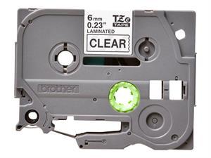 Tze111 original brother tape 6 mm. sort tekst / klar tape (laminerede) 8 m. pr. rl.