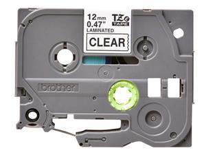 TZE131 Original Brother tape 12 mm. sort tekst / klar tape (laminerede) 8 m. pr. rl.