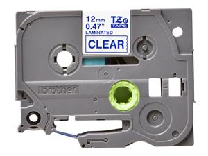 Tze133 original brother tape 12 mm. blå tekst / klar tape (laminerede) 8 m. pr. rl.