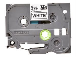 Tze221 original brother tape 9 mm. sort tekst / hvid tape (laminerede) 8 m. pr. rl.