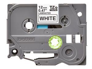 N/A – Tze231 original brother tape 12mm. sort tekst / hvid tape (laminerede)  8 m. pr. rl. fra printerpatroner.dk