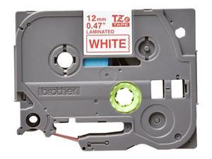 N/A – Tze232 original brother tape 12 mm. rød tekst / hvid tape (laminerede) 8 m. pr. rl. på printerpatroner.dk