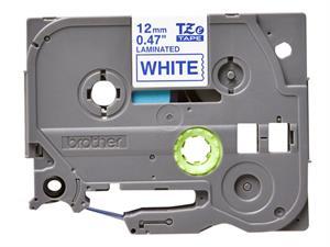 N/A Tze233 original brother tape 12 mm. blå tekst / hvid tape (laminerede) 8 m. pr. rl. fra printerpatroner.dk