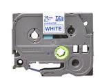 Brother tape 18 mm. blå tekst / hvid tape (laminerede) 8 m. pr. rl.