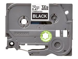 N/A Tze335 original brother tape 12 mm. hvid tekst / sort tape (laminerede) 8 m. pr. rl. på printerpatroner.dk