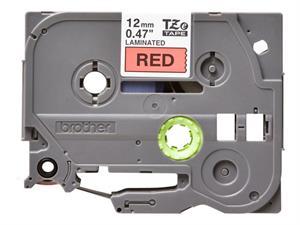 N/A – Tze431 original brother tape 12 mm. sort tekst / rød tape (laminerede) 8 m. pr. rl. fra printerpatroner.dk