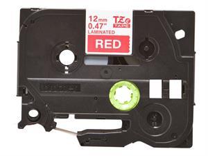 Tze435 original brother tape 12 mm. hvid tekst / rød tape (laminerede) 8 m. pr. rl.
