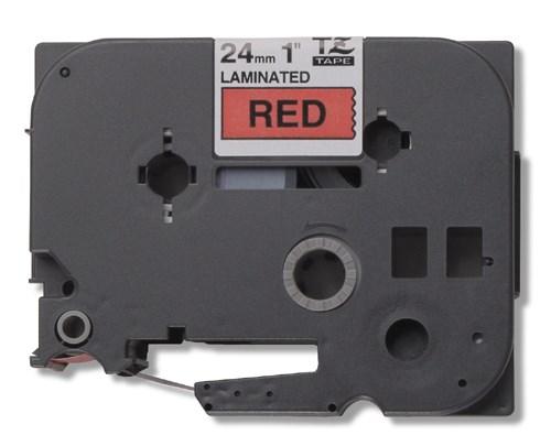 Brother tape 24 mm. sort tekst / rød tape (laminerede) 8 m. pr. rl.
