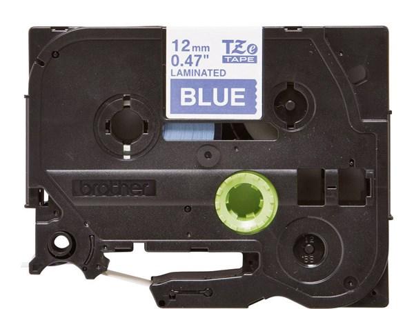Brother tape 12 mm. sort tekst / blå tape (laminerede) 8 m. pr. rl.