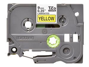Tze621 original brother tape 9 mm. sort tekst / gul tape (laminerede) 8 m. pr. rl.