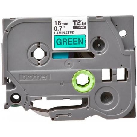 Brother tape 18 mm. sort tekst / grøn tape (laminerede) 8 m. pr. rl.